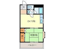 清和編織アパート[3階]の間取り