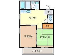 柳原レジデンス[1階]の間取り
