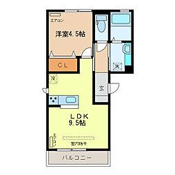 栃木県足利市鹿島町の賃貸アパートの間取り