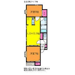 新潟県新潟市中央区和合町3丁目の賃貸アパートの間取り