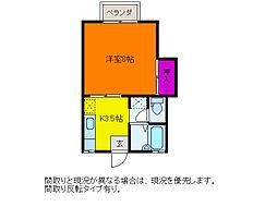 ハイライフ笹口B[2階]の間取り