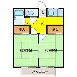 横山ハイツ[2C号室]の間取り