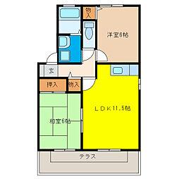セジュール扶桑[1階]の間取り