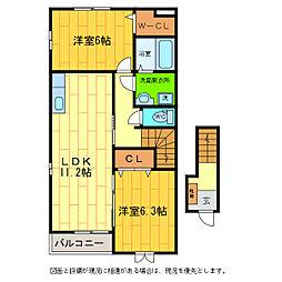 徳島県板野郡藍住町富吉字岸ノ下の賃貸アパートの間取り