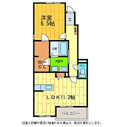 徳島県板野郡藍住町東中富字龍池傍示の賃貸アパートの間取り