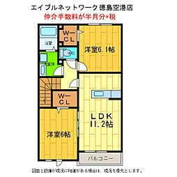 徳島県徳島市川内町金岡の賃貸アパートの間取り