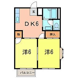 サンシティ板倉A[1階]の間取り