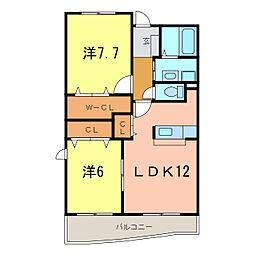 愛知県岡崎市北野町字高塚の賃貸マンションの間取り