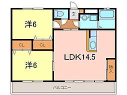 クレイコート横山[3階]の間取り