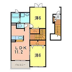 愛知県刈谷市小山町5丁目の賃貸アパートの間取り