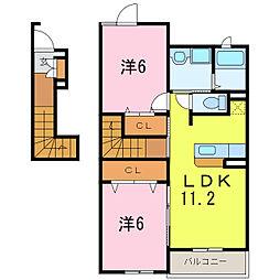 ポルテ・ボヌール[2階]の間取り