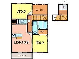 愛知県岡崎市橋目町字御小屋西丁目の賃貸アパートの間取り
