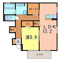 愛知県豊田市若林西町六反ケ坪の賃貸アパートの間取り