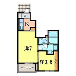 ディアコートII[1階]の間取り