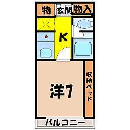 埼玉県熊谷市中央1丁目の賃貸マンションの間取り