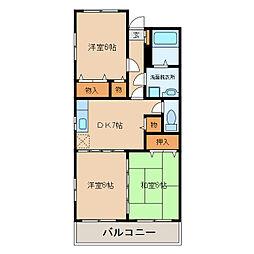 ピースフルマンションA棟[2階]の間取り
