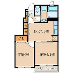 ハピネスフラワー1 2[1階]の間取り