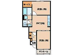 ガーデンハウスマロンI II[A102号室]の間取り