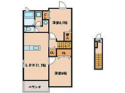 YSコート五番館[2階]の間取り