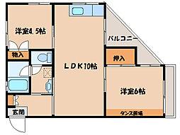 第2サンハイツエゾウ 2階2LDKの間取り