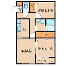 王子町新築アパートA棟(仮称[2階]の間取り