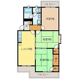 静岡県浜松市中区新津町の賃貸マンションの間取り
