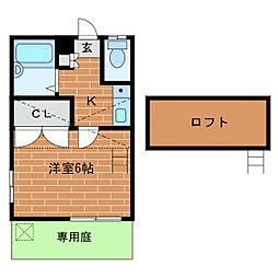 静岡県浜松市中区住吉1丁目の賃貸アパートの間取り