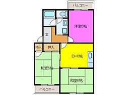 静岡県浜松市中区南浅田1丁目の賃貸マンションの間取り