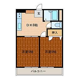 静岡県浜松市中区海老塚町の賃貸マンションの間取り