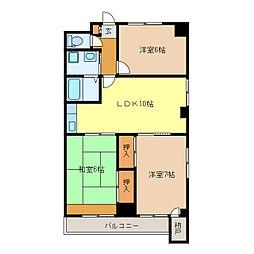 静岡県浜松市中区上島6丁目の賃貸マンションの間取り