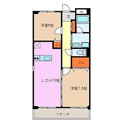 愛知県名古屋市天白区土原4丁目の賃貸マンションの間取り