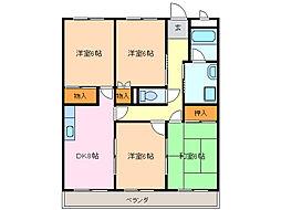 愛知県名古屋市緑区乗鞍2丁目の賃貸アパートの間取り