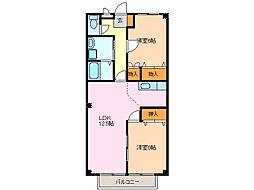 愛知県名古屋市緑区徳重3丁目の賃貸アパートの間取り