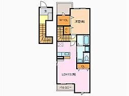 愛知県名古屋市緑区藤塚2丁目の賃貸アパートの間取り