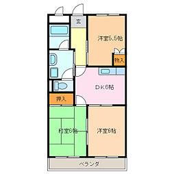 愛知県名古屋市緑区桶狭間西の賃貸マンションの間取り