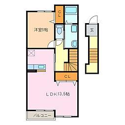 愛知県名古屋市緑区桶狭間北3の賃貸アパートの間取り