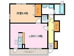 愛知県名古屋市緑区四本木の賃貸アパートの間取り
