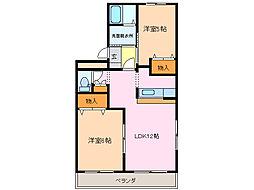愛知県名古屋市緑区桶狭間森前の賃貸マンションの間取り