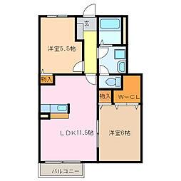 愛知県名古屋市緑区梅里1丁目の賃貸アパートの間取り