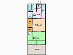 愛知県名古屋市緑区上旭2丁目の賃貸アパートの間取り