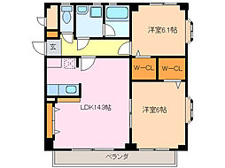 愛知県名古屋市緑区滝ノ水2丁目の賃貸アパートの間取り
