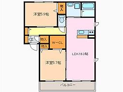 愛知県名古屋市緑区西神の倉1丁目の賃貸アパートの間取り