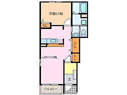 愛知県豊明市新栄町3丁目の賃貸アパートの間取り