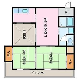 愛知県名古屋市緑区鹿山2丁目の賃貸マンションの間取り