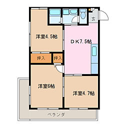 愛知県名古屋市緑区鳴海町字中汐田の賃貸マンションの間取り