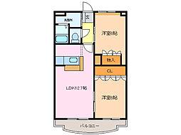 愛知県名古屋市緑区鳴海町字森下の賃貸アパートの間取り