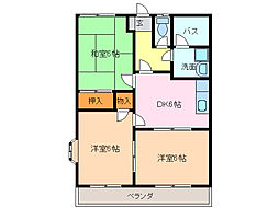 愛知県名古屋市緑区小坂2丁目の賃貸アパートの間取り