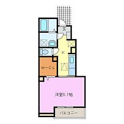 愛知県名古屋市緑区神沢1丁目の賃貸アパートの間取り
