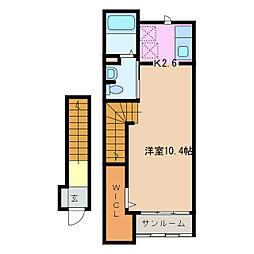 愛知県名古屋市緑区東神の倉3丁目の賃貸アパートの間取り