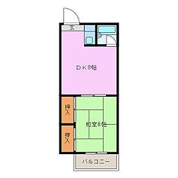 愛知県名古屋市緑区鳴海町字栢木の賃貸マンションの間取り